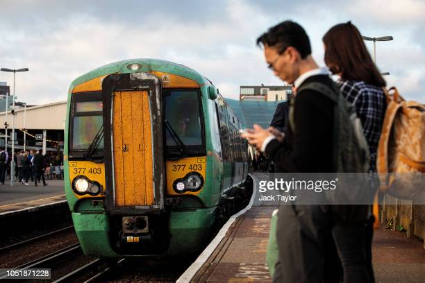 A train arrives at Clapham Junction Station during the morning rush hour on October 11 2018 in London England The Office of Road and Rail released...