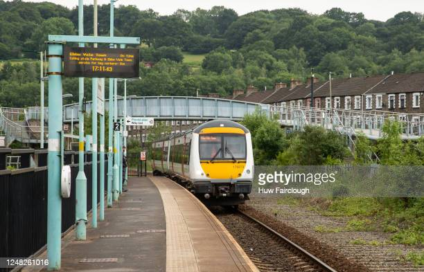 Train arrives at Newbridge train station on June 8, 2020 in Newbridge, Wales, United Kingdom. As the British government further relaxes Covid-19...