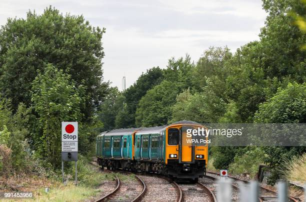 A train arrives where Prince Charles Prince of Wales and Camilla Duchess of Cornwall will mark the 150th anniversary of the Heart of Wales railway...