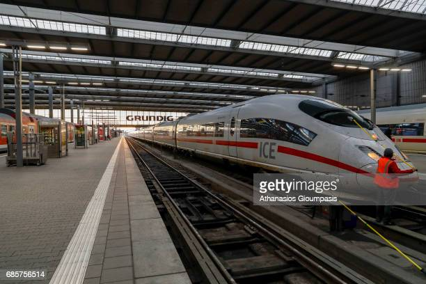 ICE 3 train at Munich main railway station or Muenchen Hauptbahnhof on April 14 2017 in Munich Germany Hauptbahnhof is the main railway station in...