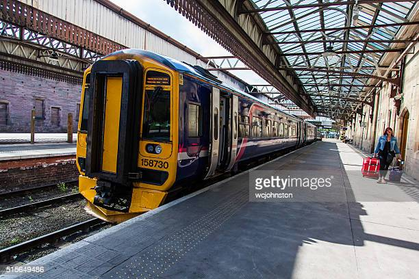 train at perth station - perth scotland stock pictures, royalty-free photos & images