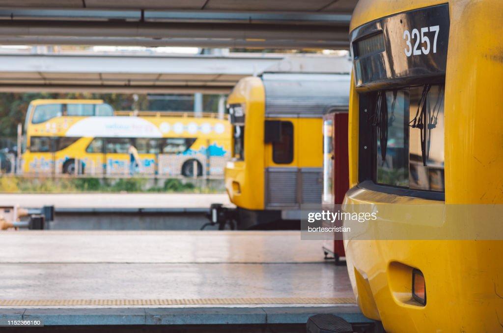 Train At Railroad Station : Stock Photo