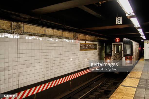 train at subway station - grand central station manhattan stock pictures, royalty-free photos & images