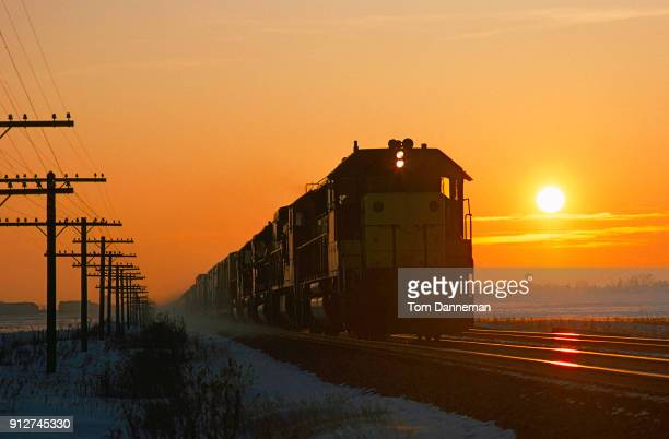 Train at sunset in Illinois flatland