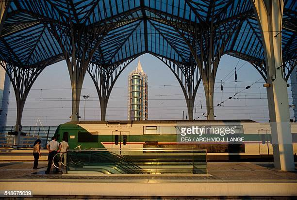 Train at the Lisbon Orient Station in 1998 designed by Santiago Calatrava Valls Historical Province of Extremadura Lisbon Portugal