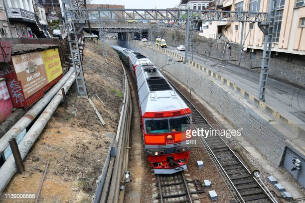 A train believed to be carrying North Korean leader Kim Jong Un arrives in the fareastern Russian port of Vladivostok on April 24 2019