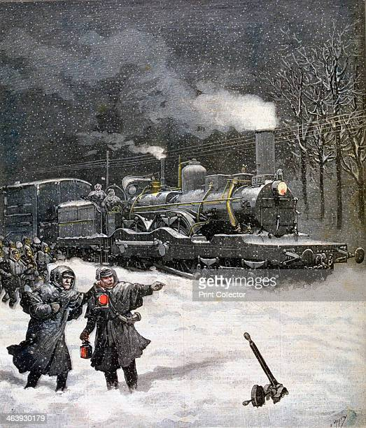 Train blocked by snow France 1892 A print from the Le Petit Journal 5th March 1892