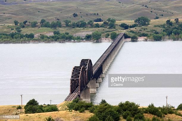 Train bridge over Missouri River, South Dakota.