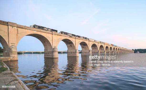 Train bridge over the Susquehanna river in Harrisburg Pennsylvania