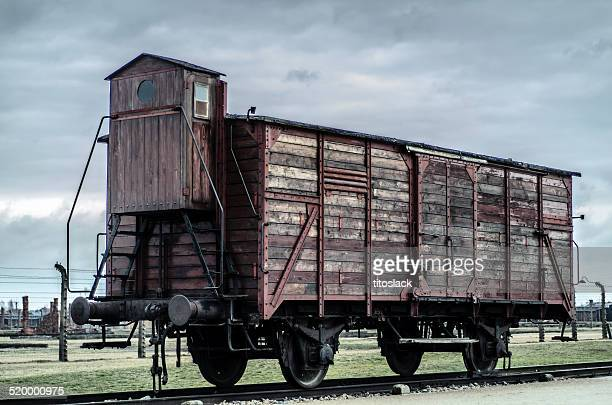 train car at auschwitz ii - auschwitz stock pictures, royalty-free photos & images