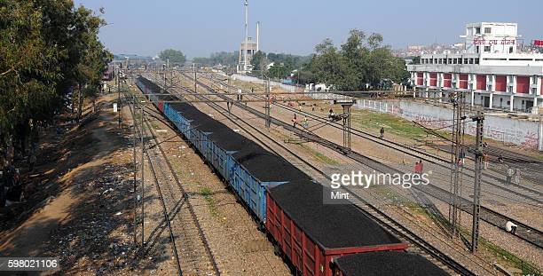 Train carrying coal at shadipur station on February 12 2013 in New Delhi India