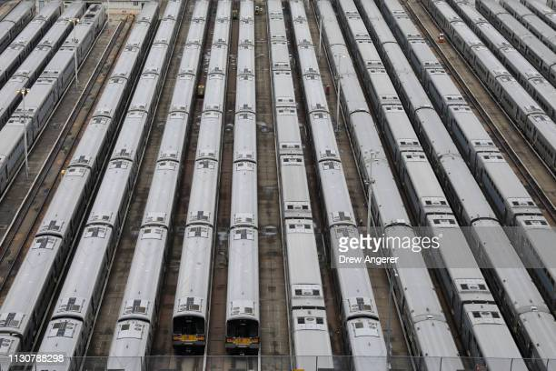 Train cars sit in the West Side Yard on the opening day for phase one of the Hudson Yards development on the West Side of Midtown Manhattan on March...