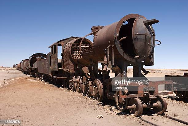 train cemetery. - bolivia stock pictures, royalty-free photos & images