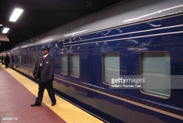 Train conductor Noel Powell waits for PresidentElect Barack Obama to arrive for his whistlestop train trip to Washington beginning here at the 30th...