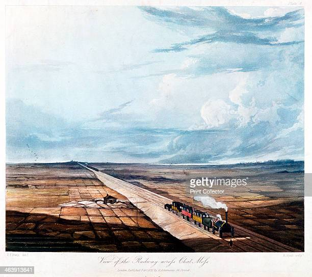Train crossing Chat Moss Lancashire 1831 A large 12 square mile peat bog five miles west of Manchester Chat Moss was considered unsuitable for the...