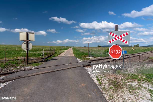 train crossing, french countryside, france, europe - railroad crossing stock pictures, royalty-free photos & images