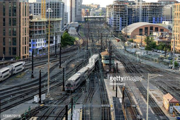 Train departs Union Station in Washington, D.C., U.S., on Sunday, June 20, 2021. The White House on Friday reiterated opposition to indexing the...