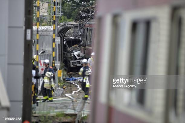 A train derails after a collision between a truck in the southern of Tokyo in the region of Kanagawa Prefecture injuring several passengers on...