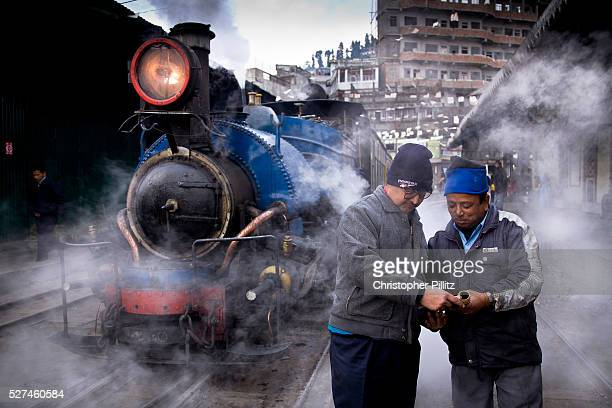 Train driver Birkh Dattani and his station manager run through standard procedures for the the daily run from Kurseong back to Darjeeling The...