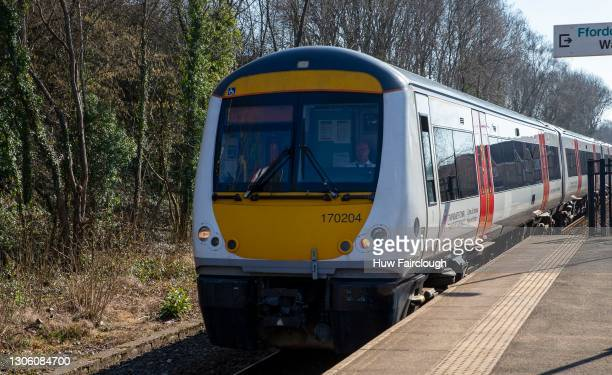 Train driver for Transport of Wales brings his train into the station on February 28, 2021 in Rogerstone, Wales. Transport for Wales have continued...