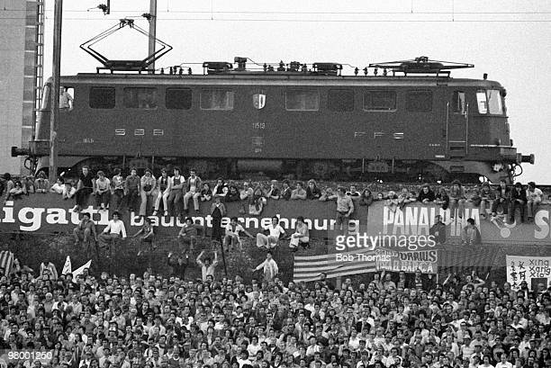 Train driver stops his engine to watch the European Cup Winners Cup Final between Barcelona and Fortuna Dusseldorf at the St Jakob Stadium in Basle,...