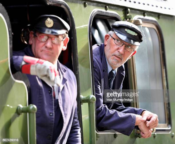 Train drivers onboard the Belmond British Pullman train during the Charities Forum Event at Paddington Station on October 16 2017 in London England