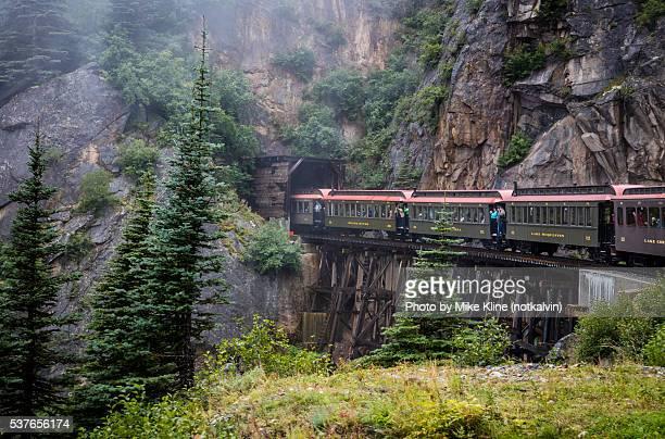 Train entering mountain tunnel
