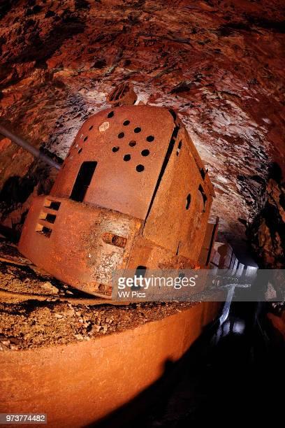 Train in a mine, val graveglia, italy, liguria.