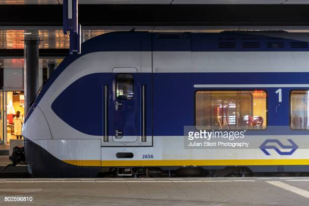 A train in Den Haag Centraal Station in the Netherlands.