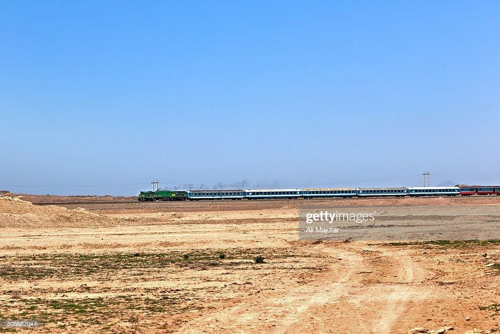 Train in desert