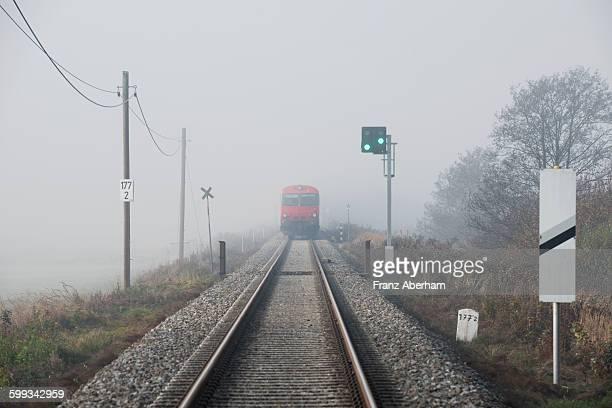 Train in mist, Austria