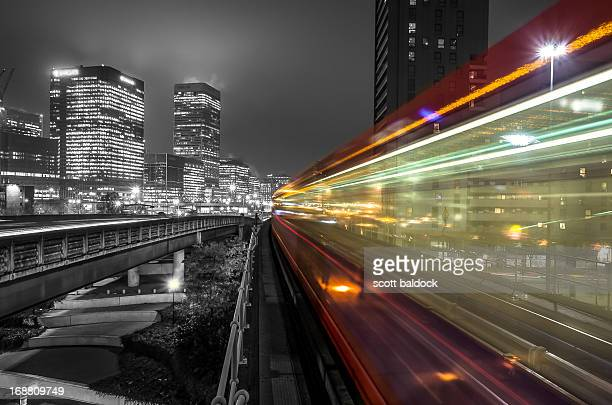 Train in motion at night