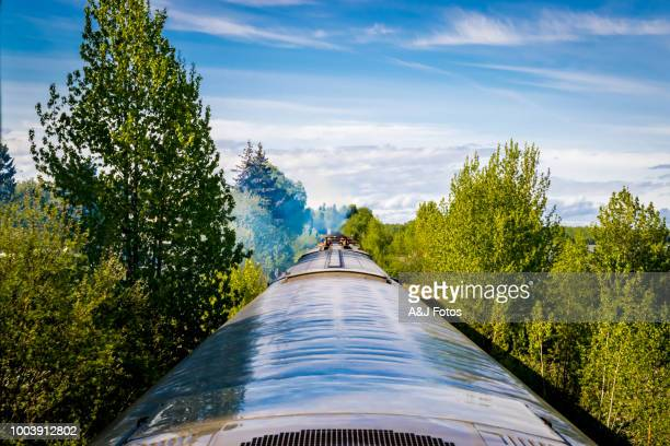 train in motion - chugach state park stock pictures, royalty-free photos & images