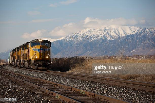train in rural idaho - idaho falls stock photos and pictures