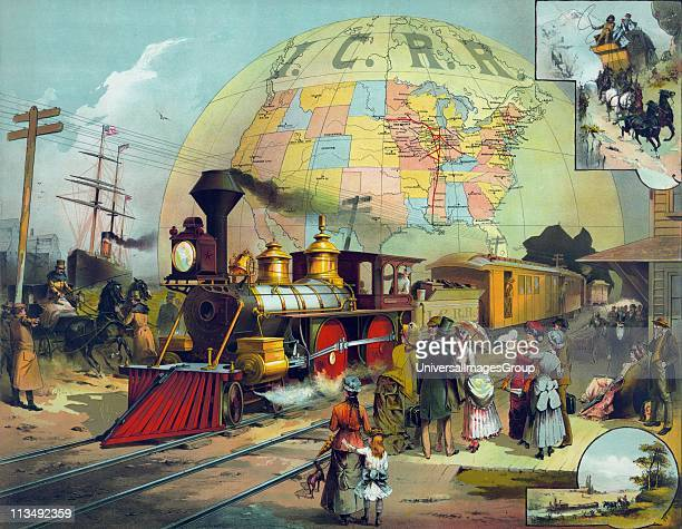 Train in station on Illinois Central Railroad Background a map of ICRR lines in US c1882 Transport Steam Locomotive Cowcatcher Headlight Passenger...