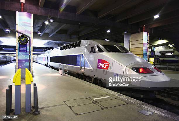 TGV train in the SNCF railwaystation Gare de Montparnasse in Paris FEBRUARY 25 2009 The TGV highspeed trains in southern direction depart from here