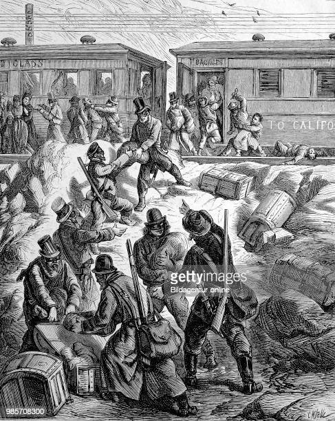 A train is raided by masked robbers California USA Reproduction of an original woodcut from the year 1882 digital improved