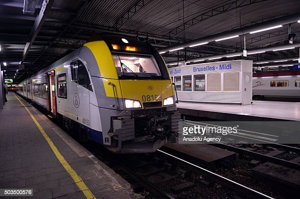 Train is seen at the Brussel Zuid - Bruxelles Midi railway station during a 48-hour strike of CGSP Cheminots and CSC Transcom, Francophone unions of...