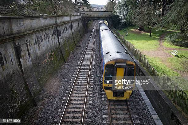 A train leaves Bath Spa station on the Great Western railway line on February 19 2016 in Bath England The electrification of the route and the...
