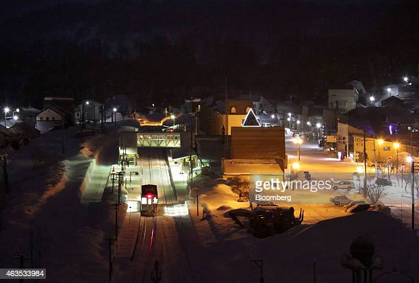 A train leaves Niseko station at night in Kutchan Hokkaido Japan on Saturday Feb 14 2015 Japan had a record number of foreign visitors in 2014...