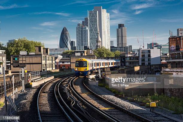 Train leaving the city, London UK