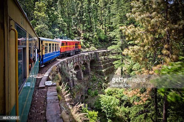 Train moving on railroad track in valley, Shimla, Himachal Pradesh, India