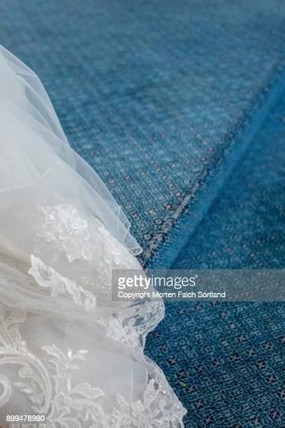 train of a wedding dress - lace textile stock pictures, royalty-free photos & images