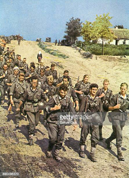 WW2 Train of soldiers marching towards the Eastern Front