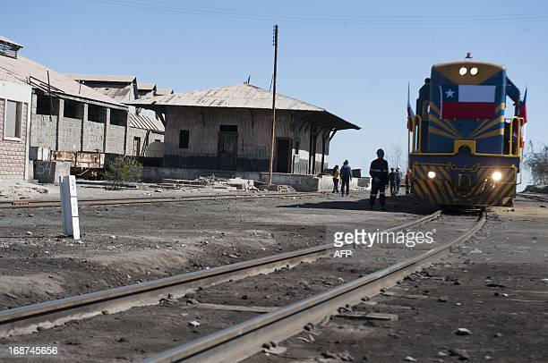 A train of the AricaLa Paz railway is pictured at the station in Arica some 2000 km north of Santiago on May 13 2013 as the line which connects Chile...