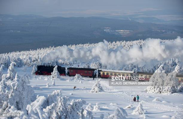 TOPSHOT A train of the Harzer Schmalspurbahn makes its way through the snowy landscape at the Brocken mountain near Schierke in the Harz region...