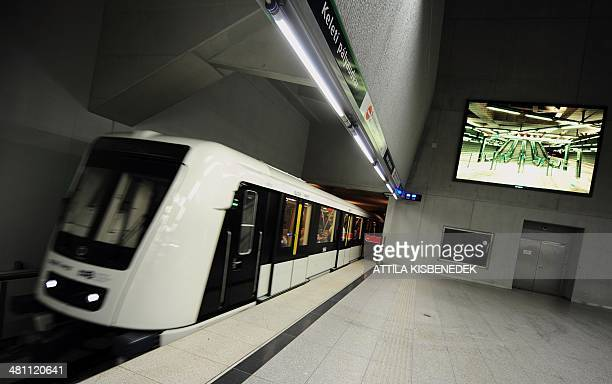 A train of the new metro line No 4 arrives at the Eastern railway station in Budapest on March 28 2014Two years late Budapest's UNESCO World Heritage...
