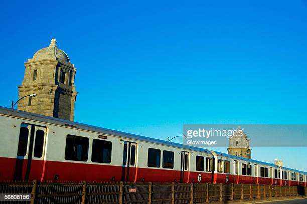 Train on a railroad track, Longfellow Bridge, Boston, Massachusetts, USA