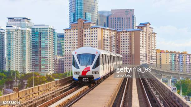 Train on an Elevated Railroad Track Passing Through City