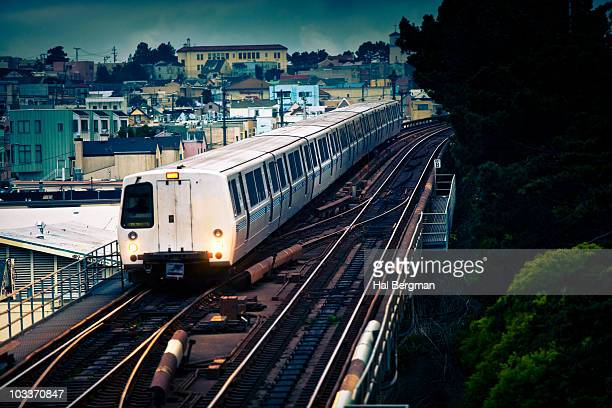 BART Train on Elevated Track
